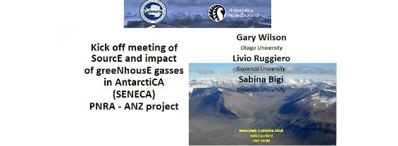 "Presentazione del progetto SENECA ""SourcEand impact of greeNhousEgasses in AntarctiCA"""